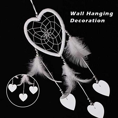 Gotian 37cm Handmade Dream Catcher White Feathers Owl Wall Car Hanging Girls Room Home Ornament Romantic Decor ()