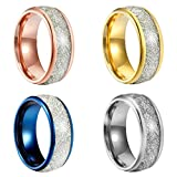 Sexbay 8mm Women's Wedding Band Rose Gold Plated Tungsten Ring for Women Meteorites Inlay Domed Polished (10)