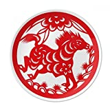 Paper-cut Horse Animal China Zodiac Art Dessert Plate Decorative Porcelain 8 inch Dinner Home