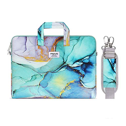 MOSISO Laptop Shoulder Bag Compatible with 2019 MacBook Pro 16 inch A2141, 15 15.4 15.6 inch Dell Lenovo HP Asus Acer Samsung Chromebook, Carrying Briefcase Sleeve with Trolley Belt Marble MO-MBH189