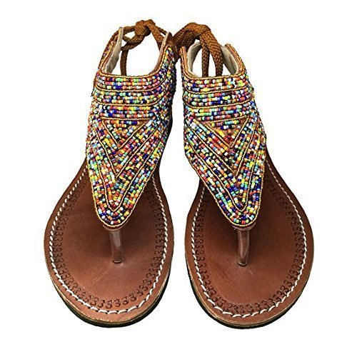 80ba855d798a Amazon.com  Roman InspiredWomens beaded leather sandals   Women s ...