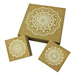 #9: Wood Rubber Stamps, 3 Pcs Round Lace Pattern Stamps, 3.75''