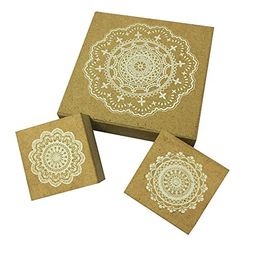 Wood Rubber Stamps, 3 Pcs Round Lace Pattern Stamps, 3.75'' (Stamps Round Rubber)