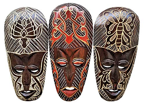 All Seas Imports Gorgeous Set of (3) Hand Chiseled Wood African Style Wall Decor Masks with Unique Butterfly & Turtle Designs! -