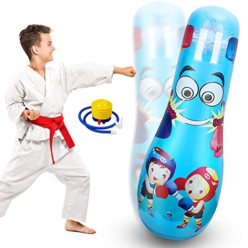 Mdikawe Inflatable Kids Punching Bag, Bounce Back Boxing Bag, Punch Bags Kids Toys with Thicken Premium PVC for 3-10…