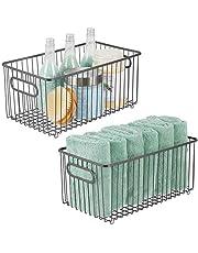 mDesign förvaringskorg i rutnät – korg i metall med integrerade handtag – trådkorg för köket, badrummet, sovrummet – 2-pack – grafitgrå