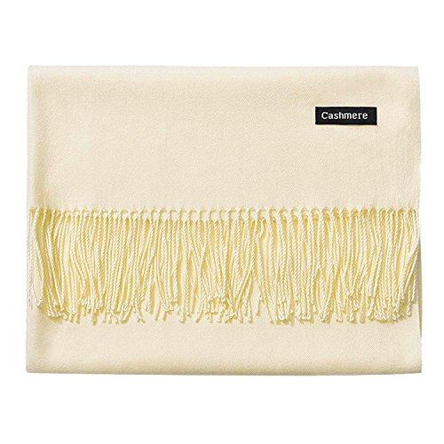 (L'vow Women's Soft Cashmere Blend Evening Scarves Pashmina Cape Shawl Wraps Stole (Off-white))