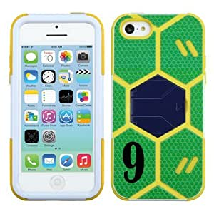 Iphone 5C Soccer Goalkeeper Hybrid Protective Cover Number: (#9) with Stand.