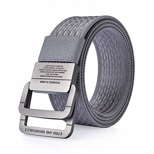 WJINER D-Ring Buckle Men Dress Canvas Elastic Fabric Woven Stretch Braided Belts (Ladie D-ring Belt)