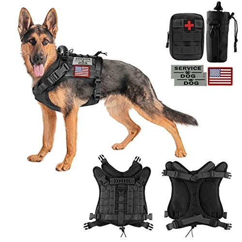 Detachable Girth Ring (Hanshengday Tactical Dog Vest-Training Outdoor Breathable Harness-Military Water-Resistant Dog Backpack-Pet Tactical -Vest Detachable Pouches-D Ring for Dog Leash (XL, 02Black))