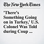 'There's Something Going on in Turkey,' U.S. Colonel Was Told during Coup Attempt | Michael S. Schmidt