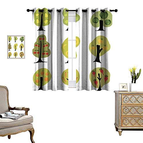 m Curtains Garden Fantasy Trees Set - Apple pear Cherry Watermelon bana Drapes W84 x L72 ()