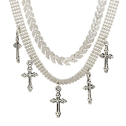 MINGHUA Double Layers Cross Charms Choker Necklaces Bradde Chain Collar Necklace for Women