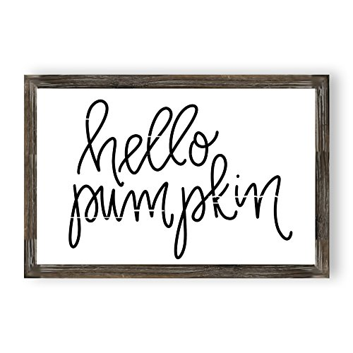 Hello Pumpkin Wood Sign | Autumn Country Signs Fall Home Decor Rustic Farmhouse Halloween Wooden Wall Art Signs with Sayings and Quotes Framed Wall -