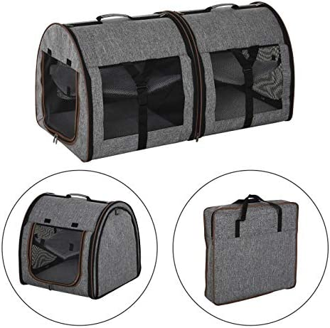 PawHut 39 Soft-Sided Portable Dual Compartment Pet Carrier – Dark Grey