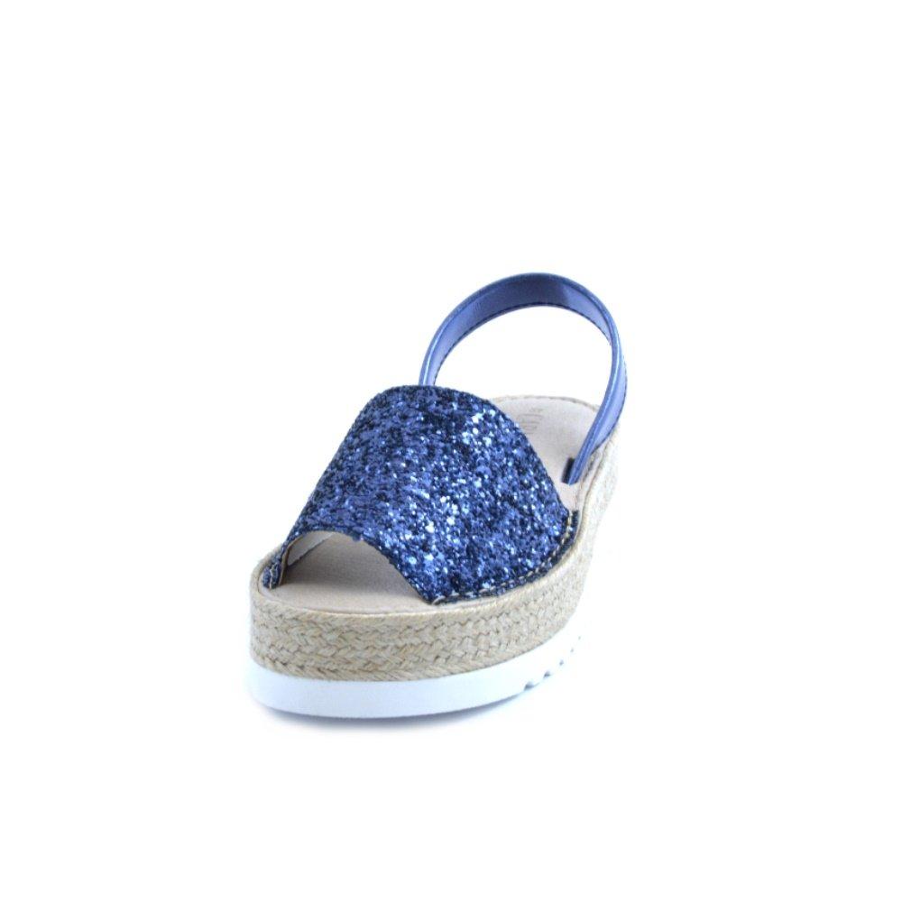 CARMELA Sandali Donna Pelle Pelle Pelle Blu. Fondo in Rafia e Gomma da 4,5cm. Taglia 37 73b283