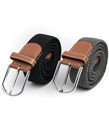 2 Pc HBY Braided Belt Silver Nickel Finish Buckle Faux Leather Elastic Woven Stretch Mens Womens Dress