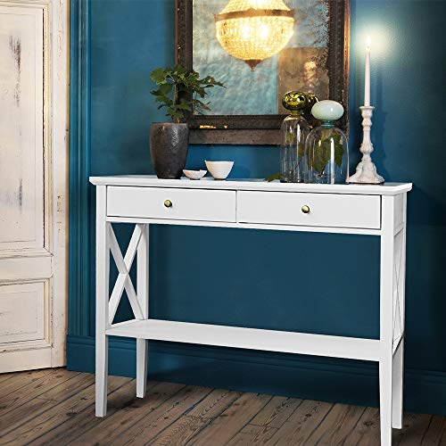 - ChooChoo Console Sofa Table Classic X Design with 2 Drawers, Narrow Console Table for Entryway, Hall Console Tables Easy Assembly-White
