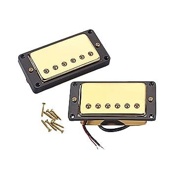 Healifty Doble bobina Humbucker Pickup Guitarra eléctrica Cuello puente Pastilla cromada con marco negro en forma de guitarra LP (dorada): Amazon.es: ...