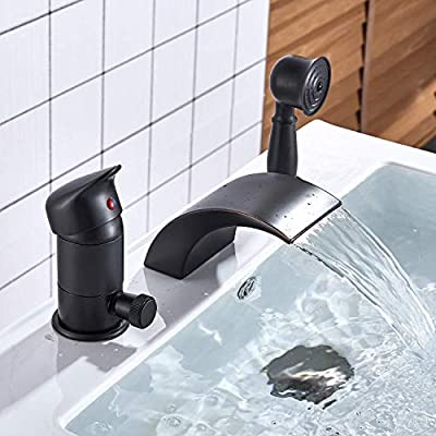 Senlesen Deck Mounted Contemporary 3-Hole Waterfall Roman Tub Filler Faucet with Hand Shower Oil Rubbed Bronze