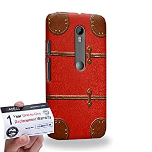 Case88 [Motorola Moto G (3rd gen)] 3D impresa Carcasa/Funda dura para & Tarjeta de garantía - Art Fashion Red Luggage