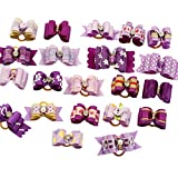 PET SHOW Assorted Styles Ribbon Headdress Dog Hair Bows for Small Pet Dog Cat Grooming Products with Rubber Bands Purple Pack of 100