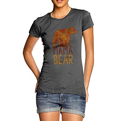 Mama Bear Silhouette Women's Funny 100% Cotton T-Shirt, Crew Neck, Comfortable and Soft Classic Tee with Unique Design