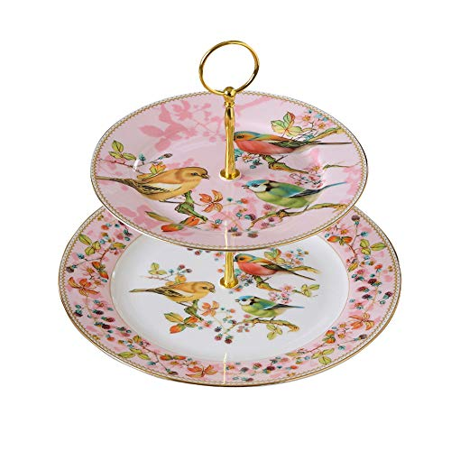 NDHT 2 Tier Porcelain Bone China Square Cake Plate Stand,White & Green,Height:10.''¨/Edge Length:8''&10'',Pink Bird,Golden Edge