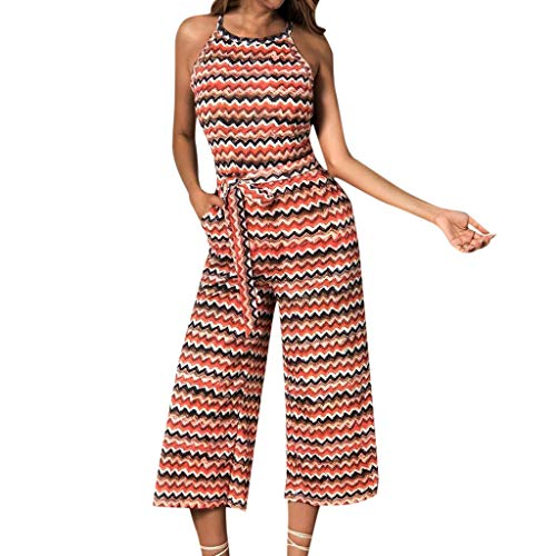 Women Wide Leg Jumpsuits Summer Halter Neck Sleeveless Clubwear Long Pants Outfit with Belt by Gyouanime