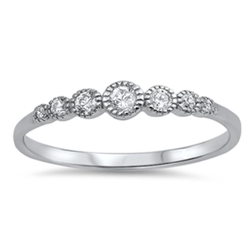 Women's Round White CZ Wedding Ring New .925 Sterling Silver Band Size 3