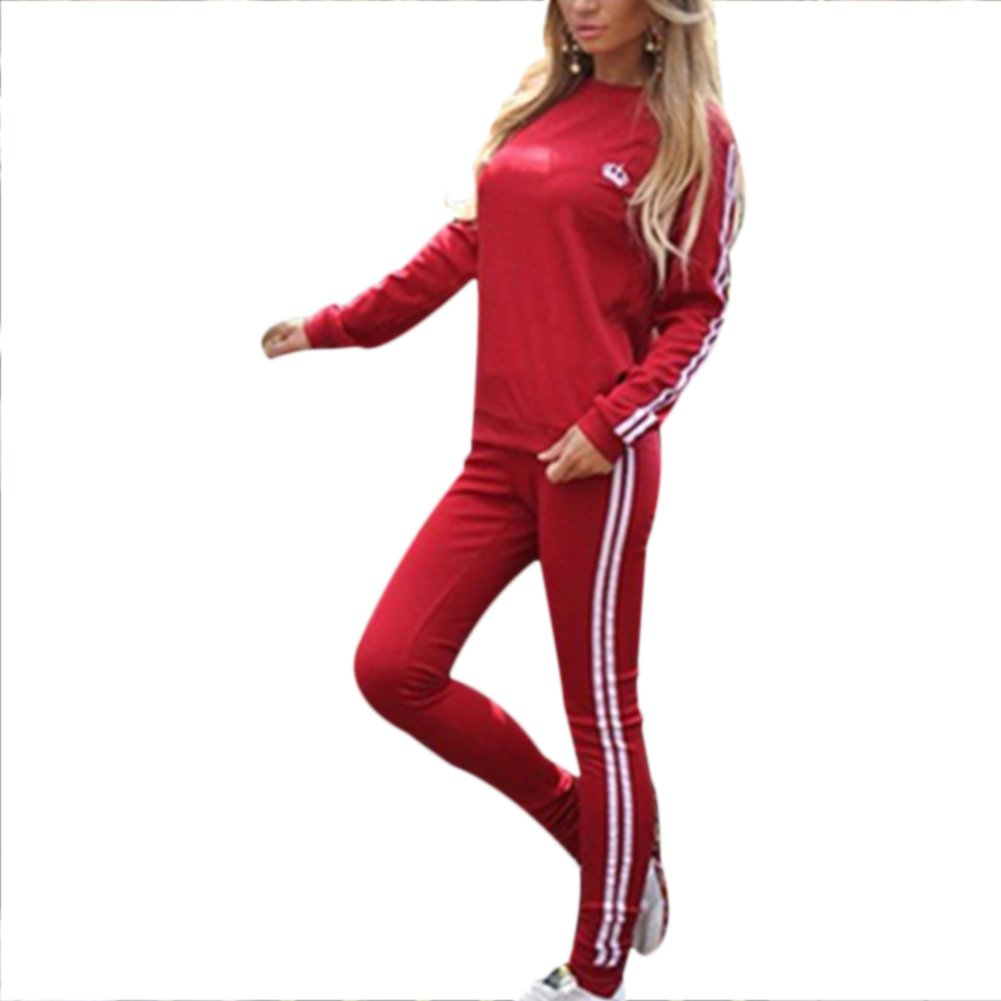 Verypoppa Women's Stripe-Side Sweatshirt Sweatpants Jogger Set Tracksuit (US M, Red)