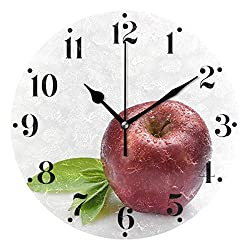 UNISE Round Wall Clock Apple Decorative Silent Non Ticking Clock Battery Operated Acrylic Wall Clock for Home Kitchen School Office