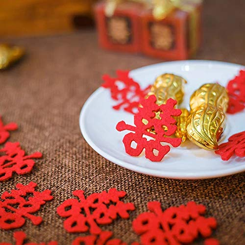 Double Hi Double Happiness Confetti Red Table Confetti for Chinese Wedding Decorations 30PCS