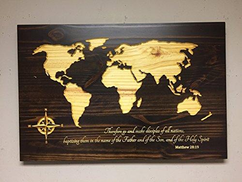 Wood wall art, Spiritual Home Decor, Religious wall art, wooden map ...