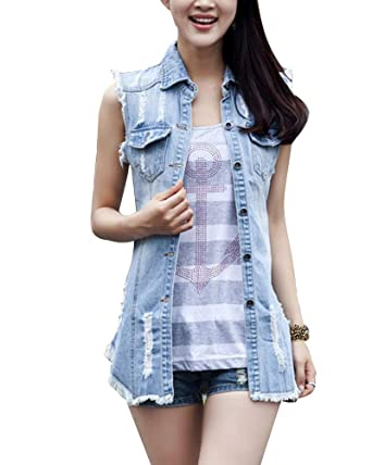 giacca jeans senza maniche donna