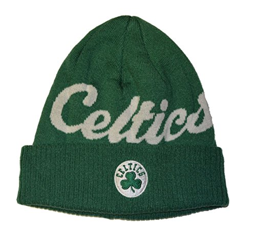 Boston Celtics Green Script Cuff Beanie Hat - Adidas NBA Cuffed Winter Knit Toque Cap