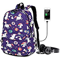 Unicorn Girls School Backpack Travel Laptop Bag College Student Bookbag 15.6 in with USB Charging Port & Headphone Interface Daypack Outdoor With Trolley Case Slot