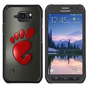 TECHCASE---Cubierta de la caja de protección para la piel dura ** Samsung Galaxy S6 Active G890A ** --Cute Funny Red Foot Print