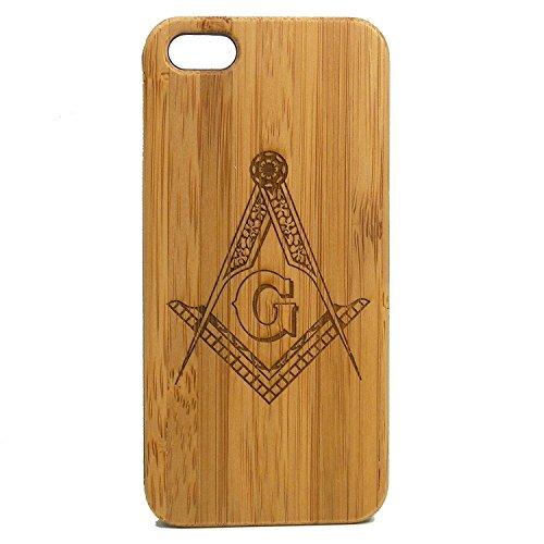 (Freemasons iPhone 8 Plus Case/Cover by iMakeTheCase | Freemasonry Masonic Square & Compasses Symbol | Bamboo Wood Cover Fraternal Fraternity)