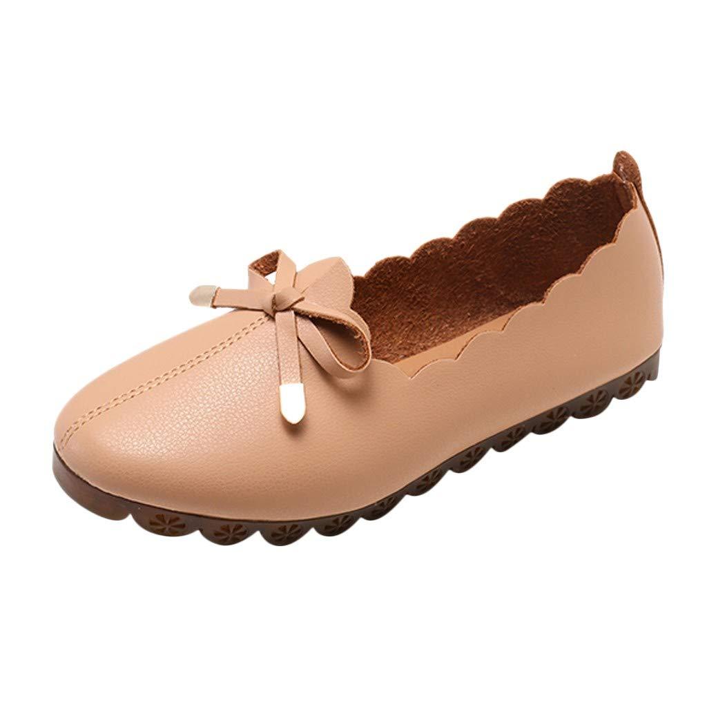 Sanyyalsy Women Bow Knot Floral Boeder Flat Shoes Soft Bottom Slip On Shallow Shoes for Pregant Women Or Elderly People Khaki by Sanyyanlsy