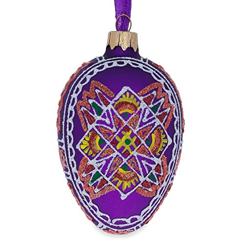 "4.5"" Purple Geometric Ukrainian Egg Glass Christmas Ornament"