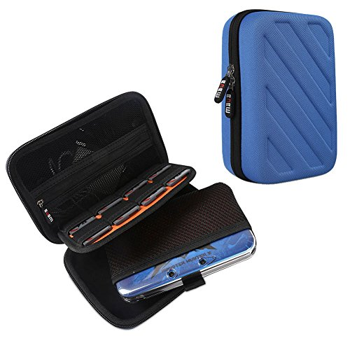 Case Eva Zip Dsi (BUBM New 3DS/3DS XL/3DS LL Travel Game Case -Travel Carrying Case for New Nintendo DS Gaming Console -Hard EVA Nintendo 3ds pouch With 8 Game cartridges Holders-Dodger Blue)