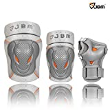 JBM BMX Bike Knee Pads and Elbow Pads with Wrist Guards Protective Gear Set for Biking, Riding, Cycling and Multi Sports Safety Protection: Scooter, Skateboard, Bicycle, Rollerblades (Silver, Youth )