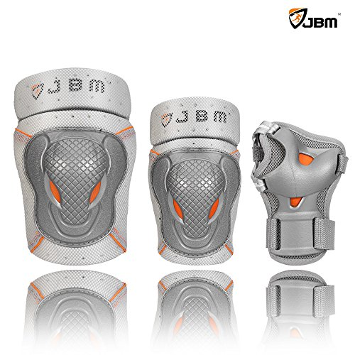 JBM BMX Bike Knee Pads and Elbow Pads with Wrist Guards Protective Gear Set for Biking, Riding, Cycling and Multi Sports Safety Protection: Scooter, Skateboard, Bicycle, Rollerblades (Silver, Adult)
