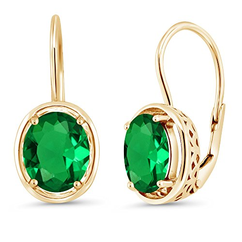 Gem Stone King 3.00 Ct Oval Green Simulated Emerald 18K Yellow Gold Plated Silver Earrings