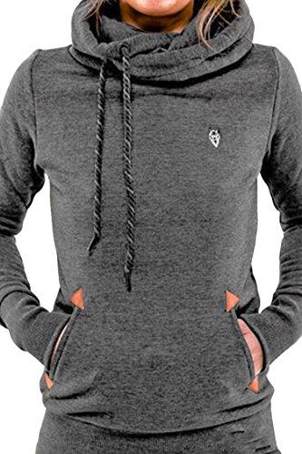 Kisscy Women's Cowl Neck Pouch Pocket Cotton Fleeces Hoodies Sweatshirt Grey L (Cowl Hoodie Women compare prices)