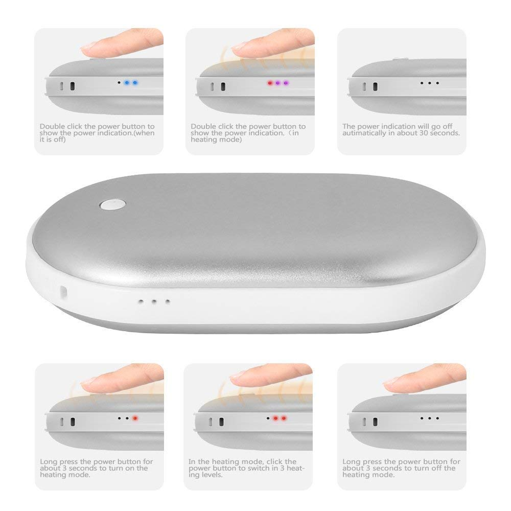 Blue 5200Mah Portable USB Charger Quick Heating Ecokeo Rechargeable Hand Warmer Power Bank