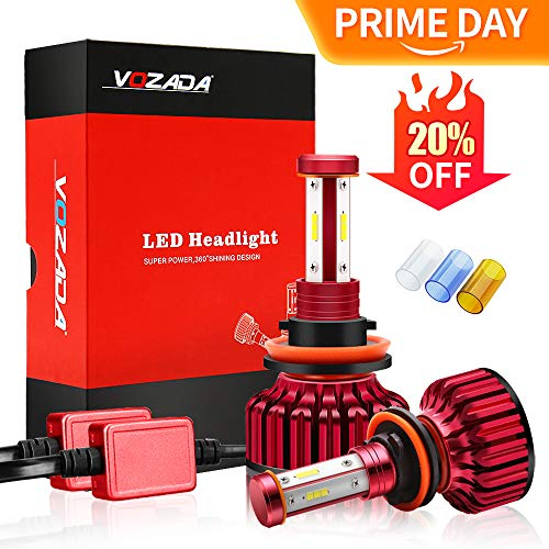 Vozada H8/H9/H11 LED Headlight Bulbs 8000lm- 4 Sides CREE Chips Plug and Play Low Beam Fog Lights Conversion Kit with Cooling Fan and EMC Decoder, 6000K White/3600K Yellow/8000K Blue