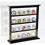 4 Shelves Military Challenge Coin Curio Stand Rack w/ UV Protection Viewing from both side, Black