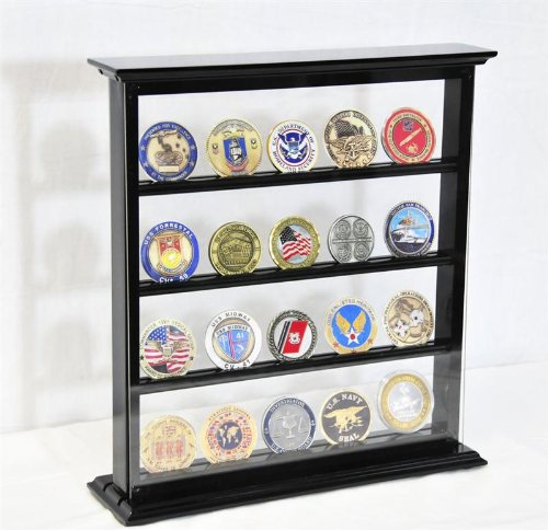 (4 Shelves Military Challenge Coin Curio Stand Rack w/ UV Protection Viewing from both side, Black)